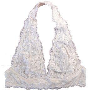 Cream White Lace Halter Bralette